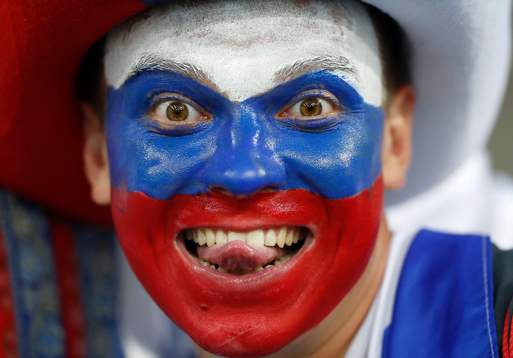 . A Russian fan grimaces prior the quarterfinal match between Russia and Croatia at the 2018 soccer World Cup in the Fisht Stadium, in Sochi, Russia, Saturday, July 7, 2018. (AP Photo/Darko Bandic)