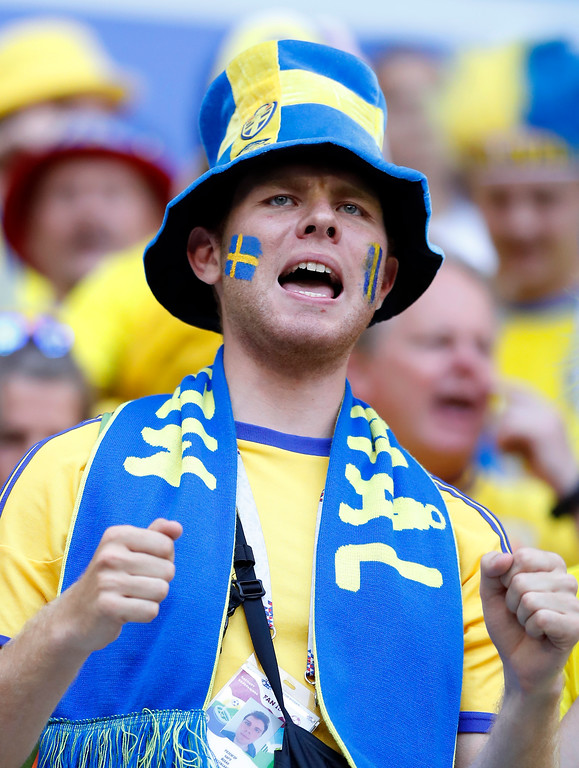 . A Sweden fan waits the quarterfinal match between Sweden and England at the 2018 soccer World Cup in the Samara Arena, in Samara, Russia, Saturday, July 7, 2018. (AP Photo/Alastair Grant)