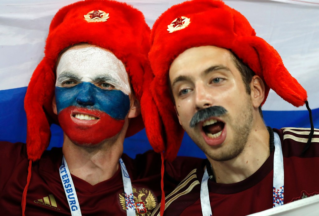 . Russian fans look on prior the quarterfinal match between Russia and Croatia at the 2018 soccer World Cup in the Fisht Stadium, in Sochi, Russia, Saturday, July 7, 2018.(AP Photo/Pavel Golovkin)