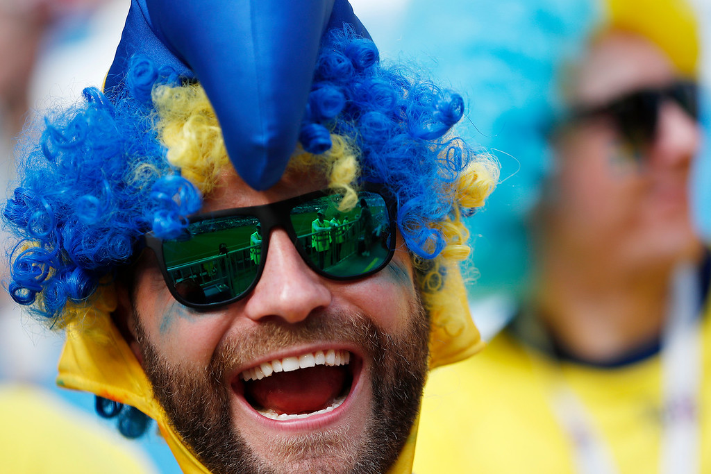. Sweden\'s fans awaits the start of the quarterfinal match between Sweden and England at the 2018 soccer World Cup in the Samara Arena, in Samara, Russia, Saturday, July 7, 2018. (AP Photo/Francisco Seco)