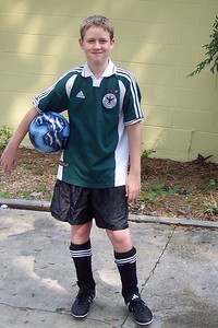 Looking cool in soccer duds...