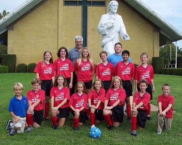 Good Shepherd Soccer team, 2004, coached by Rich Krull, with Principal Blockinger in back row.