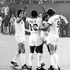 Pele SCORES! Roth and Chinaglia NY Cosmos teammates congratulate Pele after the score.
