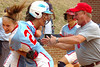 #'s 21 and 23 along with one of the coaches for Powell Valley celebrate after 23 scores the winning run from second base with two out in the last inning of regulation to send the Lady Vikings to Radford. Photo by ned Jilton II