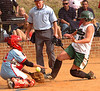 #4 the catcher for Powell Valley makes another tough play at the plate as she handles the throw and the runner, #19, at the same tome for the out. Photo by Ned Jilton II
