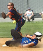 #5 for Gate City slides safe into second as #6 for Union fails to hold onto the ball. Photo by Ned Jilton II