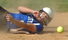 #5 for Gate City watches the ball hit the ground as she slides safe into second as #6 for Union fails to hold onto the ball. Photo by Ned Jilton II