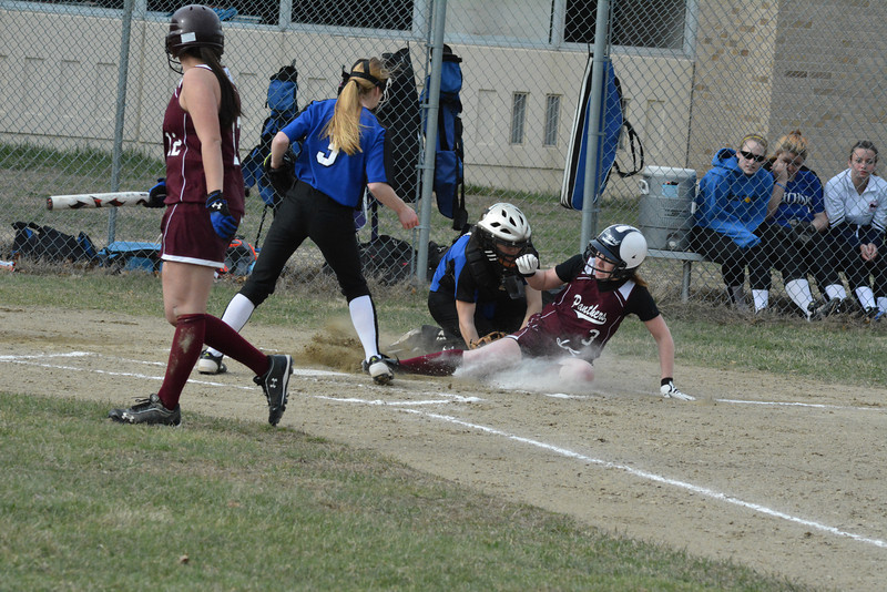 Ayer Shirley catcher Tina Babcock is tagged short of home plate in Monday's loss to West Boylston.<br /> NASHOBA PUBLISHING/ED NISER