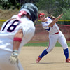 "Kwynn Warner of the Corona, California Angels, throws out Amanda Lorenz of the California Team Mizuno in the 16-under Championship game on Sunday.<br /> For more photos of the championship games, go to  <a href=""http://www.dailycamera.com"">http://www.dailycamera.com</a>.<br /> Cliff Grassmick / July 1, 2012"