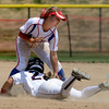 "Kwynn Warner of the Corona, California Angels, tries to tag out Brooke Marquez of the California Team Mizuno in the 16-under Championship game.<br /> For more photos of the championship games, go to  <a href=""http://www.dailycamera.com"">http://www.dailycamera.com</a>.<br /> Cliff Grassmick / July 1, 2012"