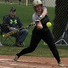 Record-Eagle/James Cook Traverse City West catcher Olivia Adams (12) takes a cut Tuesday against Charlevoix.