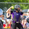Record-Eagle/Brett A. Sommers Frankfort catcher Keziah Stockdale throws back to the circle after a strikeout during Tuesday's Division 4 quarterfinal against Coleman at Lincoln Elementary in Cadillac. Coleman won 1-0.