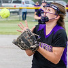 Record-Eagle/Brett A. Sommers Frankfort second baseman Bre Dawe catches a foul ball for an out during Tuesday's Division 4 quarterfinal against Coleman at Lincoln Elementary in Cadillac. Coleman won 1-0.