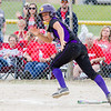 Record-Eagle/Brett A. Sommers Frankfort's Natalie Bigley sprints from the batter's box after making contact with the ball during Saturday's regional championship game against Holton. Frankfort won 6-5.