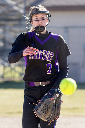 Record-Eagle/Brett A. Sommers Frankfort pitcher Olivia Tomaszewski releases a pitch during Wednesday's softball game against Kalkaska. Kalkaska swept Frankfort, winning 8-3 and 9-0.