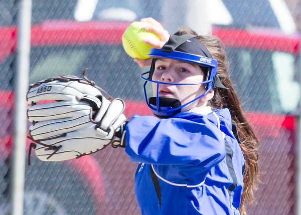 Record-Eagle/Brett A. Sommers Kalkaska shortstop makes a throw to first base during Wednesday's softball game against Frankfort. Kalkaska swept Frankfort, winning 8-3 and 9-0.