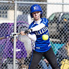 Record-Eagle/Brett A. Sommers Kalkaska's Loren Schwab swings at the ball during Wednesday's softball game against Frankfort. Kalkaska swept Frankfort, winning 8-3 and 9-0.