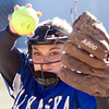 Record-Eagle/Brett A. Sommers Kalkaska pitcher MaKenzie Leach winds up to pitch during Wednesday's softball game against Frankfort. Kalkaska swept Frankfort, winning 8-3 and 9-0.