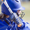 Record-Eagle/Brett A. Sommers Kalkaska's Makenzie Wilkinson waits for a pitch during Wednesday's softball game against Frankfort. Kalkaska swept Frankfort, winning 8-3 and 9-0.