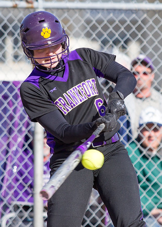 Record-Eagle/Brett A. Sommers Frankfort's Katie Beeman makes contact during Wednesday's softball game against Kalkaska. Kalkaska swept Frankfort, winning 8-3 and 9-0.