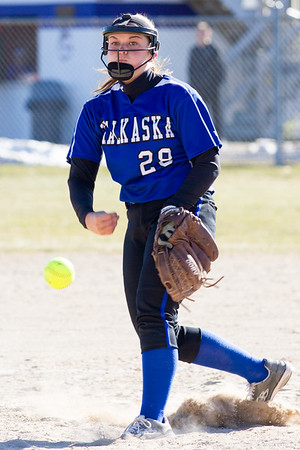Record-Eagle/Brett A. Sommers Kalkaska pitcher MaKenzie Leach releases a pitch during Wednesday's softball game against Frankfort. Kalkaska swept Frankfort, winning 8-3 and 9-0.