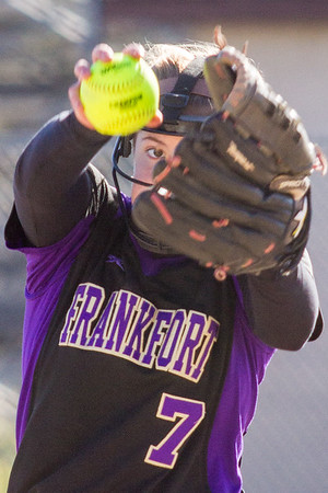 Record-Eagle/Brett A. Sommers Frankfort pitcher Olivia Tomaszewski winds up to pitch during Wednesday's softball game against Kalkaska. Kalkaska swept Frankfort, winning 8-3 and 9-0.