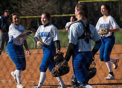 The Lindale softball team smiles after their win against Malakoff at Schwab Field in Bullard on Friday, Feb. 21, 2020.
