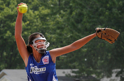 Croswell-Lexington softball win Noon Monday.  Pitcher Sadie Overland in action. Photo by Tom Mahl