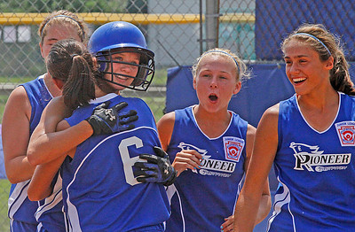 Croswell-Lexington softball win Noon Monday. Homerun Joy. From Left: , Kylee Barrett (who hit homerun-it was a rocket over the centerfield fence) #6 is Sadie overland,Abby Bringard and Megan Guitar. Photo by Tom Mahl