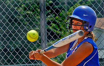 Croswell-Lexington's Brooke Smith with her eye on the ball. Photo by Tom Mahl