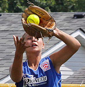 Croswell-Lexington softball win Noon Monday. Brooke Smith catches flyball in outfield. Photo by . Photo by Tom Mahl