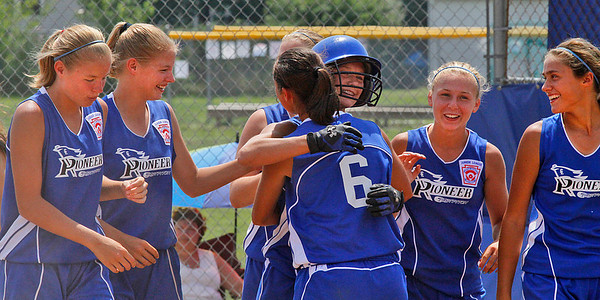 Croswell-Lexington softball win Noon Monday. Homerun Joy. From Left: Haley Church, Sydney Church, Kylee Barrett (who hit homerun-it was a rocket over the centerfield fence) #6 is Sadie overland,Abby Bringard and MeganGuitar. Photo by Tom Mahl