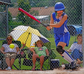 Croswell-Lexington softball win Noon Monday. The batter is Sydney Church. This was a hit.  Photo by . Photo by Tom Mahl