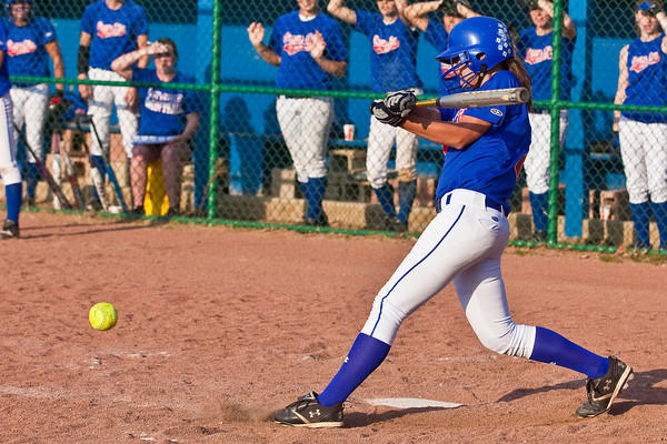 Grove City High School's #26 Jordan Titus gets a piece of a pitch in the sixth inning of play during their softball game held at Gahanna High School Wednesday afternoon April 14, 2010. (Photo by James D. DeCamp 614-462-8027)