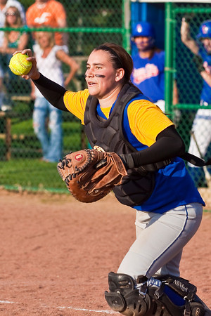 Gahanna High School's #25 Kayla Ledbetter makes as throw to third during the sixth inning of play against Grove City High School during their softball game held at Gahanna High School Wednesday afternoon April 14, 2010. (Photo by James D. DeCamp 614-462-8027)