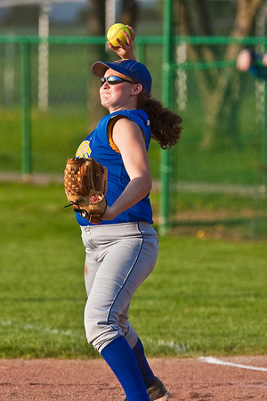 Gahanna High School's #8 Kelli Lennox throws to a teammate during the sixth inning of play against Grove City High School during their softball game held at Gahanna High School Wednesday afternoon April 14, 2010. (Photo by James D. DeCamp 614-462-8027)