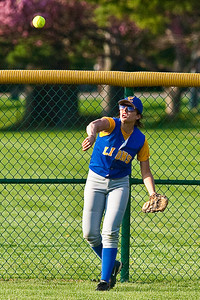 Gahanna High School's #28 Cassidy Minor throws an outfield hit back in during the sixth inning of play against Grove City High School during their softball game held at Gahanna High School Wednesday afternoon April 14, 2010. (Photo by James D. DeCamp 614-462-8027)