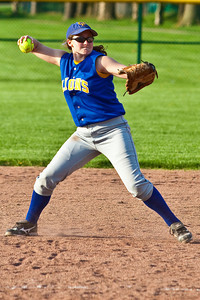 Gahanna High School's #8 Kelli Lennox makes as throw to first during the sixth inning of play against Grove City High School during their softball game held at Gahanna High School Wednesday afternoon April 14, 2010. (Photo by James D. DeCamp 614-462-8027)