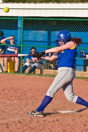 Gahanna High School's #8 Kelli Lennox hits a foul ball in the sixth inning of play against Grove City High School during their softball game held at Gahanna High School Wednesday afternoon April 14, 2010. (Photo by James D. DeCamp 614-462-8027)
