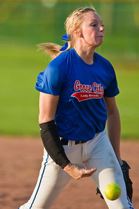 Grove City High School's #2 Paige Myers unloads a pitch during her softball game against Gahanna High School held at Gahanna High School Wednesday afternoon April 14, 2010. (Photo by James D. DeCamp 614-462-8027)