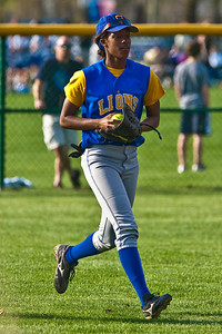 Gahanna High School's #2 Tiyona Marshall looks to throw a ball recovered in the outfield in the fourth inning of play against Grove City High School during their softball game held at Gahanna High School Wednesday afternoon April 14, 2010. (Photo by James D. DeCamp 614-462-8027)