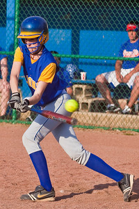 Gahanna High School's #5 Tanya Busby swings on and misses in the fifth inning of play against Grove City High School during their softball game held at Gahanna High School Wednesday afternoon April 14, 2010. (Photo by James D. DeCamp 614-462-8027)