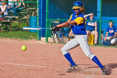 Gahanna High School's #2 Tiyona Marshall gets a piece of the ball in the third inning of play against Grove City High School during their softball game held at Gahanna High School Wednesday afternoon April 14, 2010. (Photo by James D. DeCamp 614-462-8027)