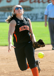 Milton's Kristi Weaver sends the ball across the plate in her perfect game against Danville Wednesday May 30, 2012 at Elm Park in Williamsport.