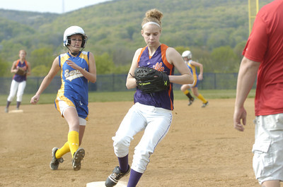 Danville's Amber Walter gets the force out at third base during Monday's game against Line Mountain.