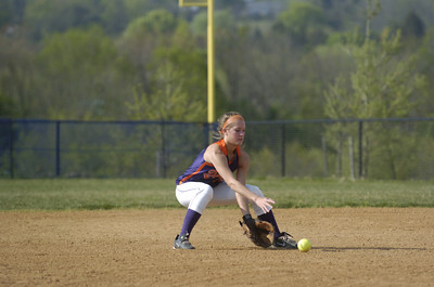 Danville's Alyssa Shaw fields a ground ball at second base during Monday's game against Line Mountain.