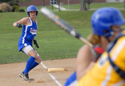 Selinsgrove's Bryn Musser takes a lead off of third base during their game against Montoursville Tuesday April 17, 2012.