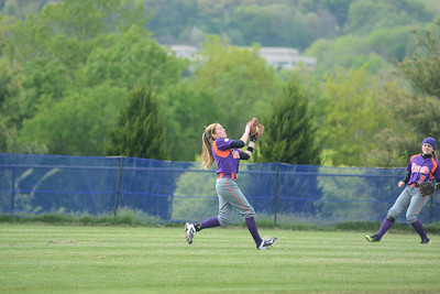 Danville's Maria Mutchler makes a catch in center field for an out during Tuesday's game against Shamokin.