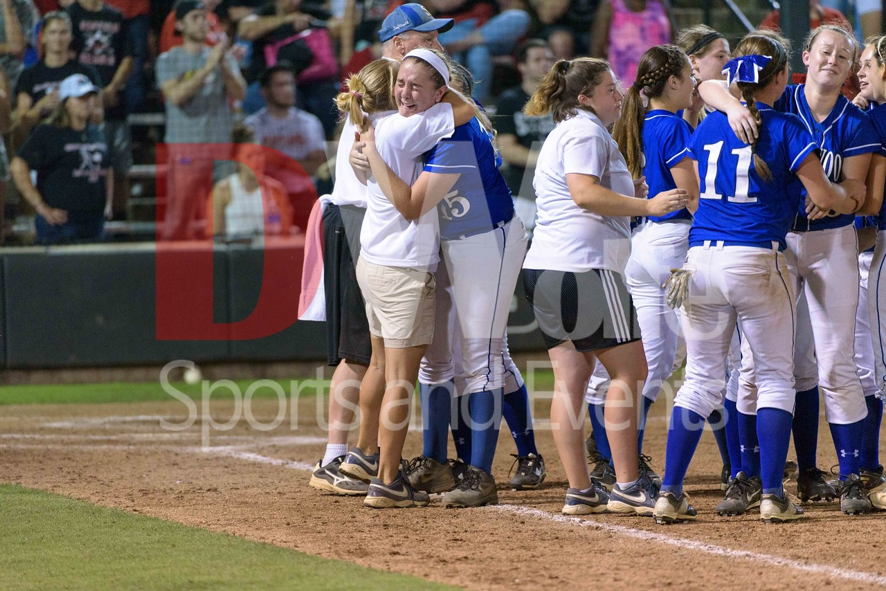 Emotions run over as tears of joy get the best of Senior pitcher Jaime Schmier pitching the entire 7 innings to clinch Sherwood's 5th 4A Softball State Championship .