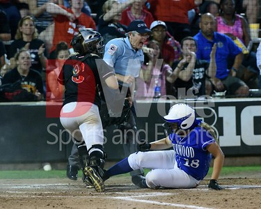 Sherwood Senior Ashley Lakey, a right fielder, slides into home and is called out by the umpire.